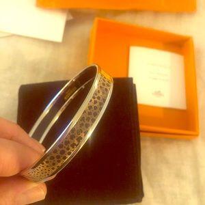 NIB Hermes Enamel bracelet - Sz 70. Leopard/floral